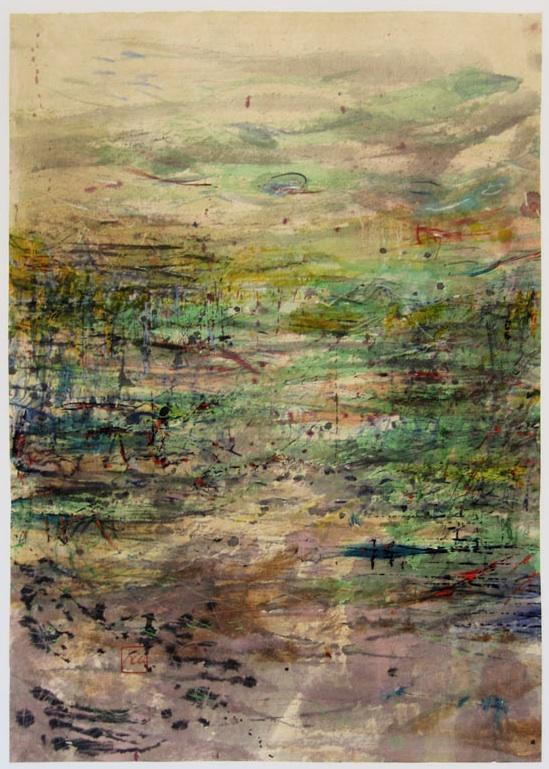 Sans titre, encre de Chine, aquarelle, acrylique, 50 x 70 cm