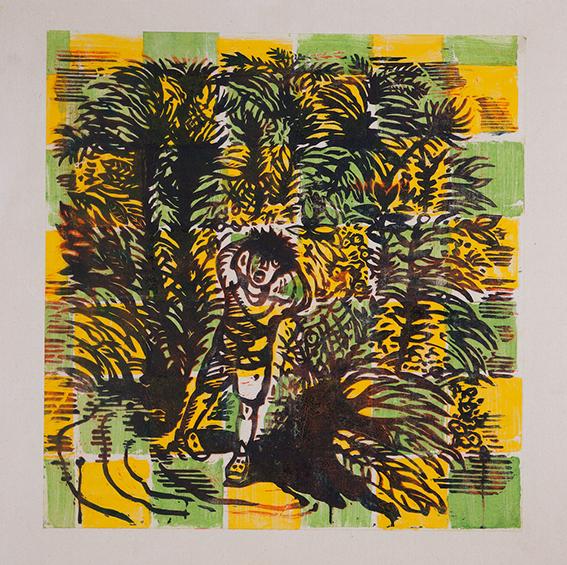 L'enfer vert, monotype marouflé sur toile, 100 x 100cm.
