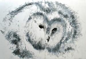 Owls face 1, fusain et gesso sur bois, diptych, 28 x 23.5 cm