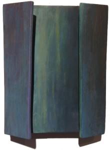 Petit volet vert lumière et violet,  huile sur structure de bois, 2014.