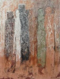 Que sont ils devenus, terres de couleur sur contreplaqué, 65 x 50 cm.