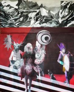 Fanfare, diptyque 116 x 89 & 116 x 49 cm, acrylique sur toile