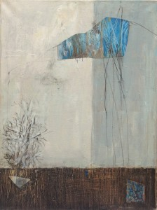 Sans titre, huile et collages sur toile, 61 x 46 cm