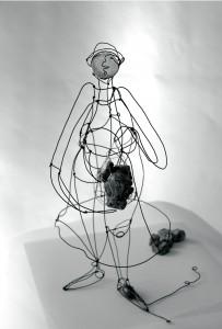 Cadeau !, Fil de fer et papier, 40 cm x 25 cm x 20 cm.
