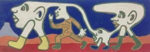 Yvon Taillandier, peinture sur bois, 48 x 17,5 cm, 1979.