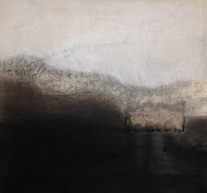 La Terre promise, pigments sur carte marine, 50 x 48 cm, 2017.